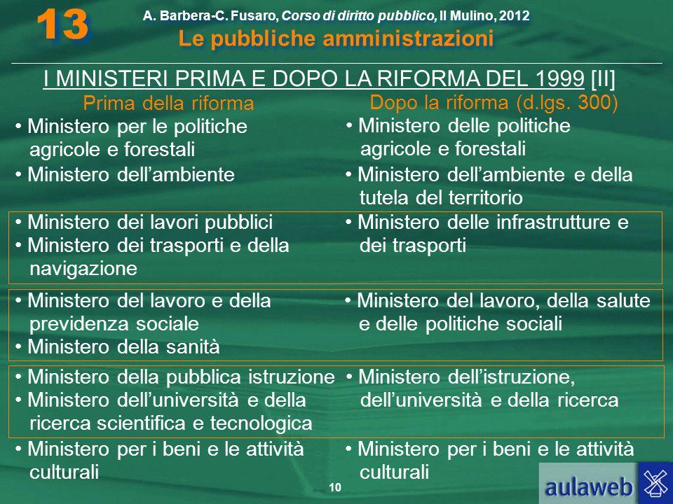 I MINISTERI PRIMA E DOPO LA RIFORMA DEL 1999 [II]